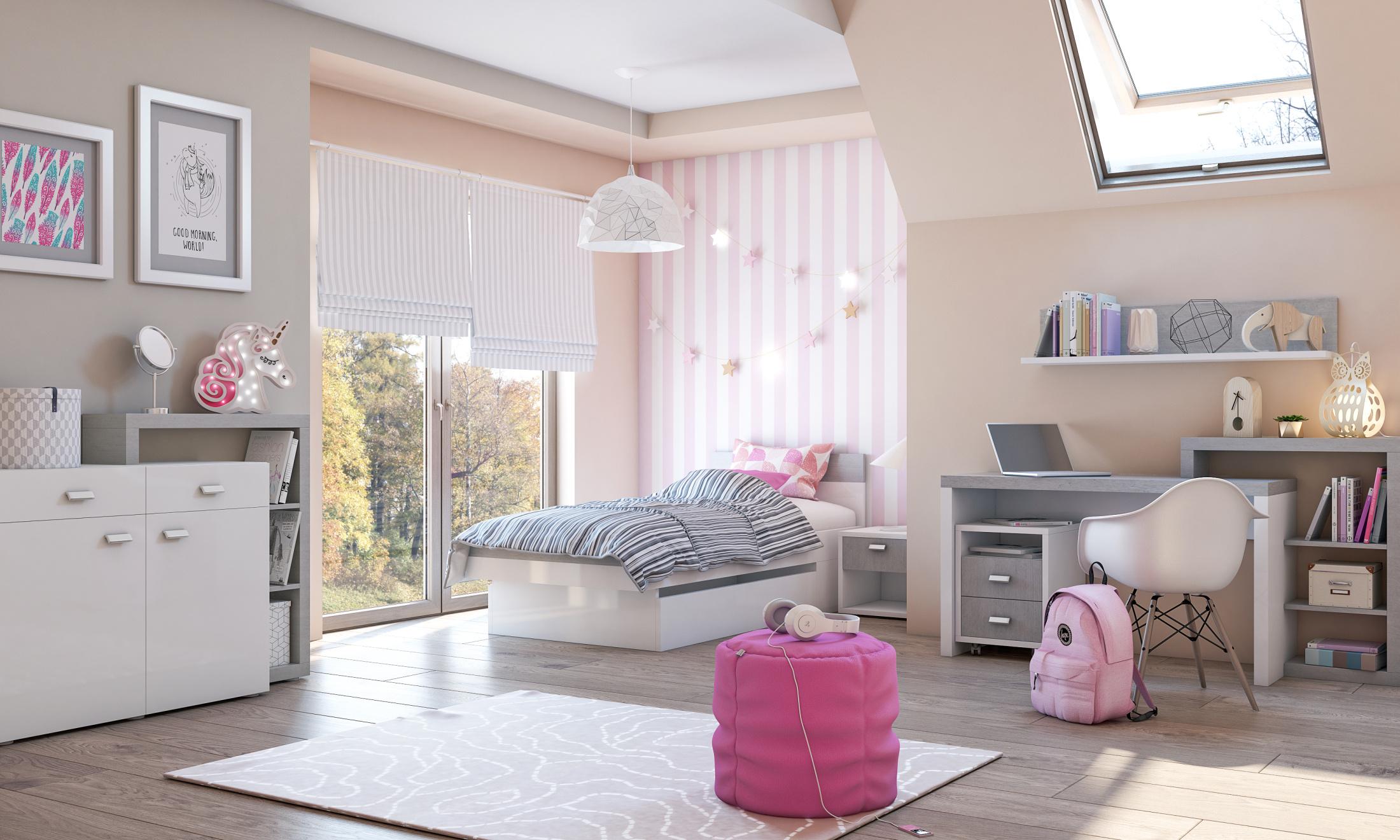 Dětský pokoj KAGOSHI, bílá/beton colorado