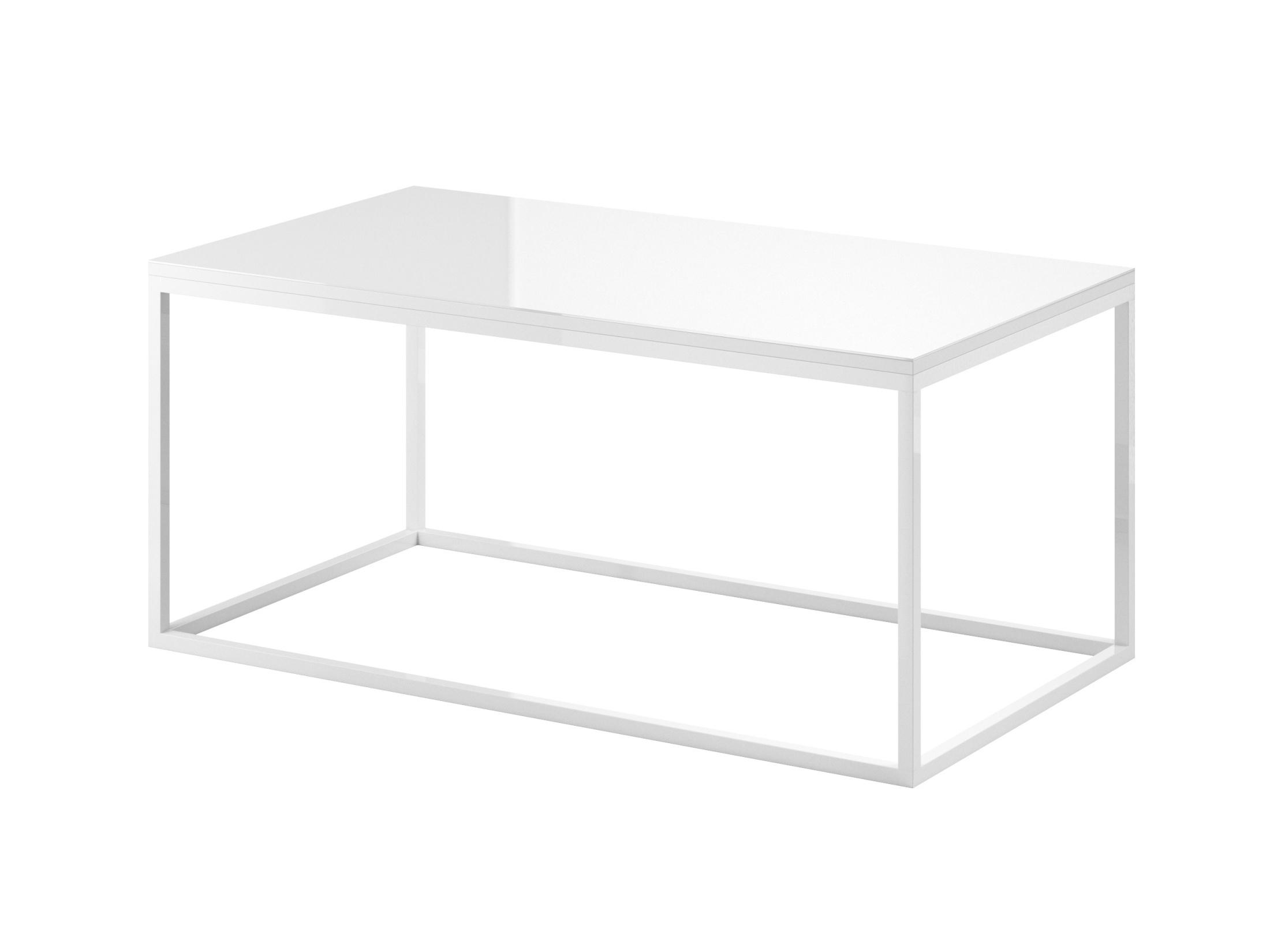 DEJEON konferenční stolek, bílá/bílé sklo
