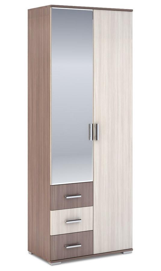 Šatní skříň 2-dveřová ROCHEL 58 cm jasan šimo (ROCHEL SK812-G8 SKŘÍŇ 2D3S+ZRC.58 j.šimo světlý)