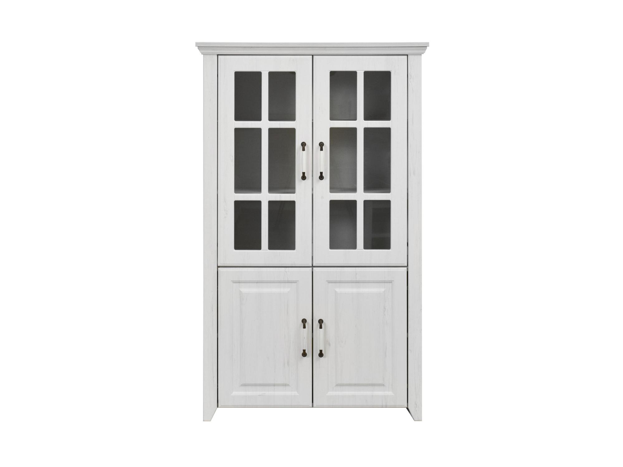 Rustic vitrina skleněná - nízká, rustic bílá