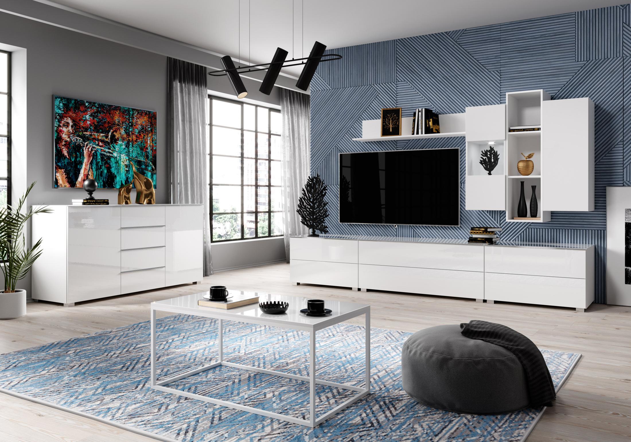 Obývací pokoj HELIO, bílá/bílé sklo