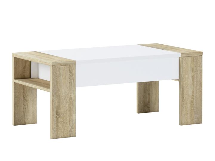 Konferenční stolek LAPU, dub sonoma/bílá