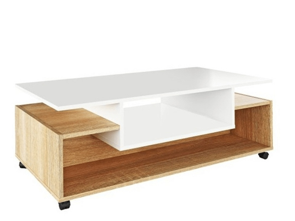 Konferenční stolek LENYSEK na kolečkách, bílá/dub sonoma