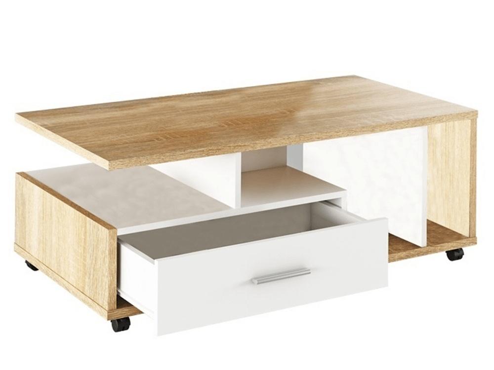 Konferenční stolek CHENDE, bílá/dub sonoma
