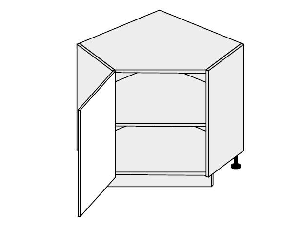 QUANTUM, skříňka dolní rohová D12R 90, mint/grey