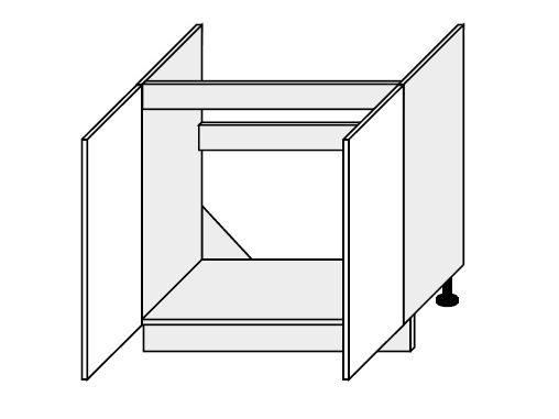 FOLLY, skříňka dolní dřezová D8z 80, dust grey/bílá